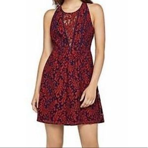 BCBG blue and red a-line lace dress